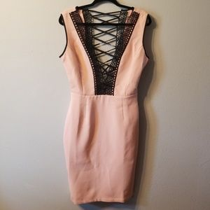 Pink and Black Body Con Low Cut Dress